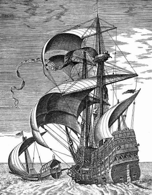 Pieter Bruegel The Elder. Military three-masted ship in the open sea accompanied by a galley