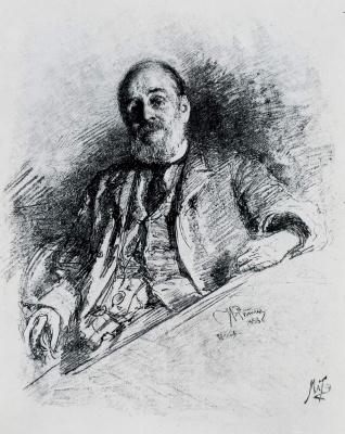 Vasily Vasilyevich Mate. Portrait of writer I. A. Goncharov. 1891. Woodcut.