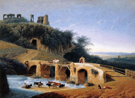 Пейзаж с руинами на холме