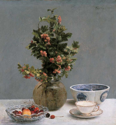 Still life with apples in a vase, cherries, Japanese bowl, and Cup and saucer