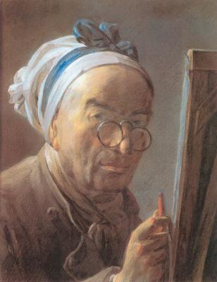 Jean Baptiste Simeon Chardin. Self-portrait with easel