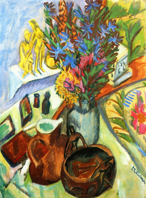 Ernst Ludwig Kirchner. Still life with jug and African bowl