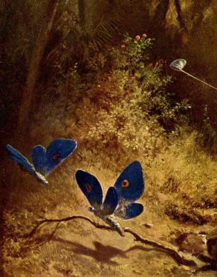 Karl Spitzweg. Butterfly catcher. Fragment