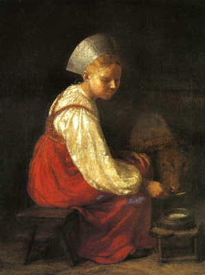 Alexey Gavrilovich Venetsianov. Girl with calf
