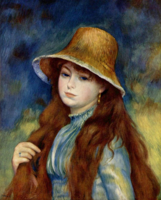 Pierre-Auguste Renoir. Girl in straw hat