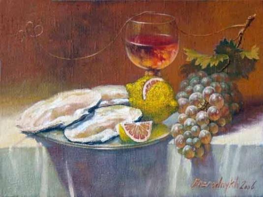 Alexander Nikolaevich Bezrodny. With oysters