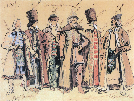 "Konstantin Korovin. Prince Golitsyn and the nobles. Costume design for the Opera by M. P. Mussorgsky ""Khovanshchina"" at the Mariinsky theater in St. Petersburg"