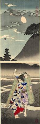Tsukioka Yoshitoshi. Diptych: the Ashikaga Mazouzi and Tasogare escapes