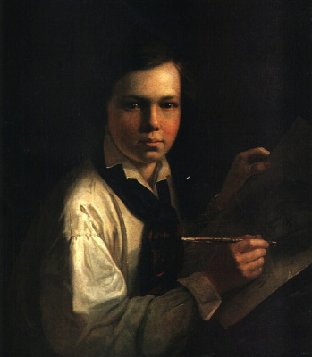 Vasily Andreevich Tropinin. Portrait of the artist's son at his easel
