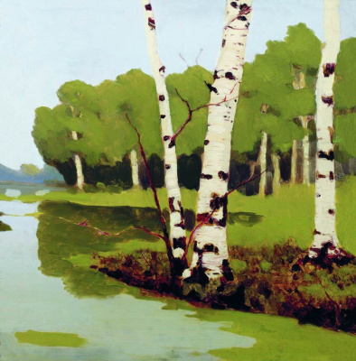 Arkhip Kuindzhi. Trunks of birch trees