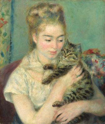 Пьер Огюст Ренуар. Женщина с кошкой