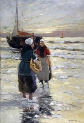 Fisherwoman near the ship