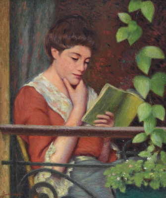 Federico Zandomenegi. Reading by the window (Woman on balcony)