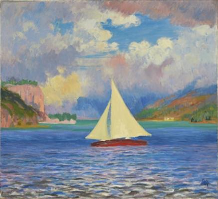 Giovanni Giacometti. Sailboat on lake Sils