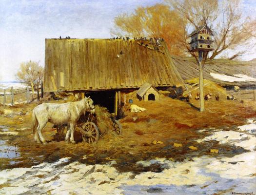Sergey Ivanovich Svetoslavsky. Yard in the spring. 1913