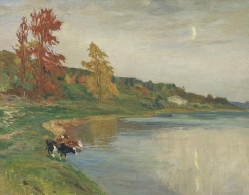 Manuil Khristoforovich Aladzhalov Russia 1862 - 1934. Autumn. Cows near the water.