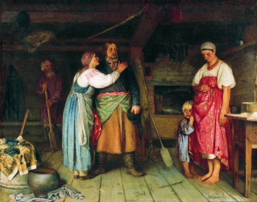 Firs Sergeevich Zhuravlev. The arrival of the cabman home. National Art Museum of the Republic of Belarus, Minsk