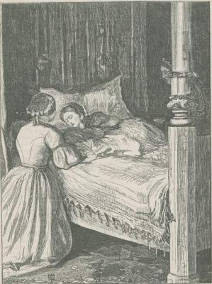 """Джон Эверетт Милле. Служанка у постели матери с новорожденным. Иллюстрация для журнала """"Хорошие слова"""""""