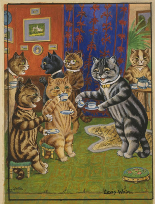 Louis Wain. Afternoon at home