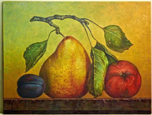 Sergey Bychkov. Fruit composition, pear, apple, plum