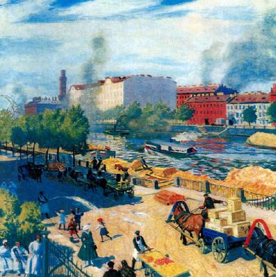 Борис Михайлович Кустодиев. Фонтанка у Калинкина моста