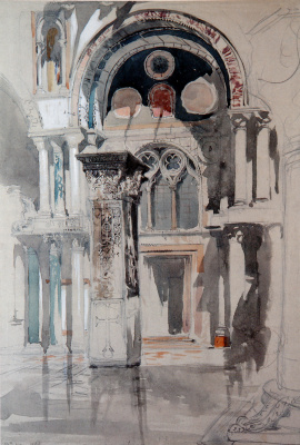 John Ruskin. St. Mark's Cathedral after the rain, Venice
