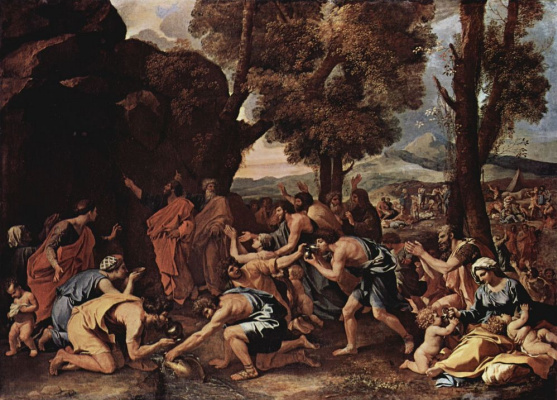 Nicola Poussin. Moses excised water from the rock