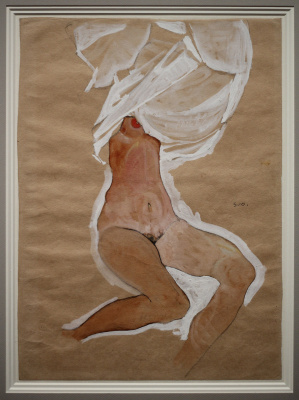 Seated Nude with a shirt on his head