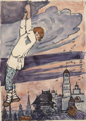 "Elena Dmitrievna Polenova. The boy hangs on a cloud. Illustration for the tale ""why the bear became scanty"""
