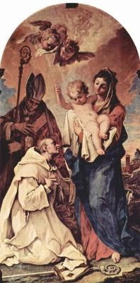 Себастьяно Риччи. Явление Богородицы св. Бруно из Кёльна и св. Гуго, епископу Линкольнскому