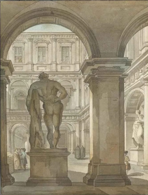 Giacomo Quarenghi. Hercules statue in the courtyard of the Villa Farnese, Rome