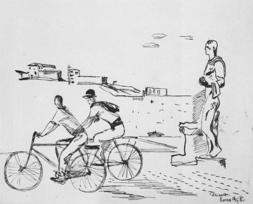 Alexander Alexandrovich Deineka. Italian workers on bicycles