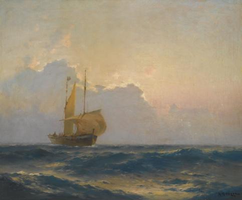 Alexey Vasilyevich Ganzen. Navire au crépuscule