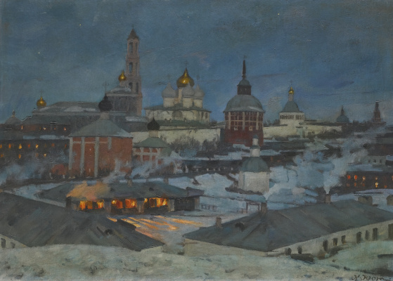 Константин Федорович Юон. Троице-Сергиева лавра при лунном свете. 60 x 84 см.