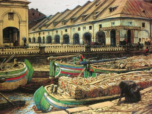 Evgeniy Evgenievich Lansere. Nikolsky market in Petersburg