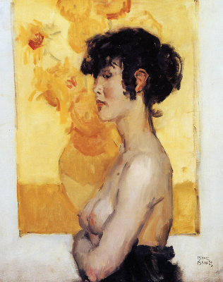 Исаак Исраэлс. Женщина перед подсолнухами Ван Гога