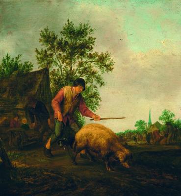 Adrian Jans van Ostade. A farmer with a pig