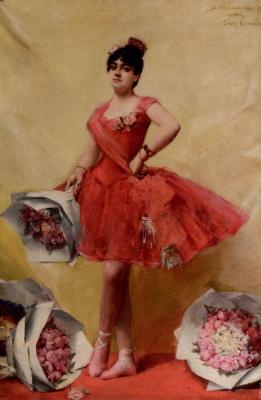 Леон Франсуа Комерр. Женщина в красном платье