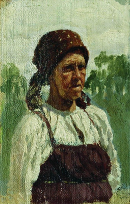 """Ilya Efimovich Repin. Old. Study for the painting """"Seeing rookie"""""""