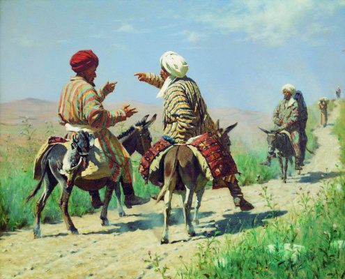 Vasily Vasilyevich Vereshchagin. Mullah Rahim and Mullah Kerim on the road to the Bazaar fight