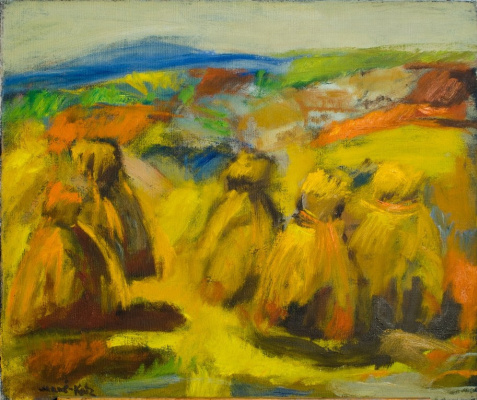 Mane-Katz (Immanuel Katr Leiserovich). Landscape with haystacks