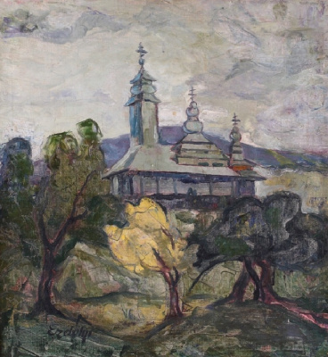 Adalbert Mikhailovich Erdeli. Landscape with a church