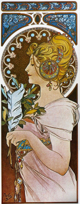 Alfons Mucha. Portrait of a girl with feather