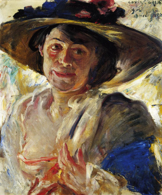 Lovis Corinto. The lady in the pink hat. Portrait Of Charlotte Berend-Corinth
