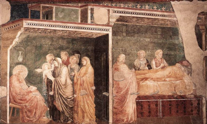 Giotto di Bondone. The birth and naming of the Baptist. Scenes from the life of John the Baptist (north wall)