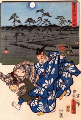 Utagawa Hiroshige. Dancing in Akasaka