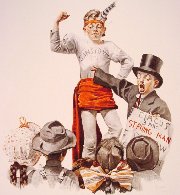 """Norman Rockwell. The strongman of the circus. Cover of """"The Saturday Evening Post"""" (3 Jun 1916)"""