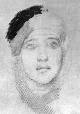"Mikhail Vrubel. Head of a woman (Portrait of E. prahovo). Study for the painting ""virgin and child"""