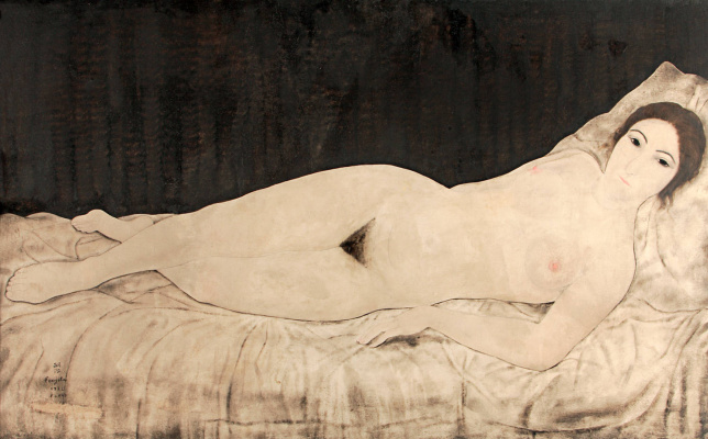 Zuguharu Fujita (Léonard Fujita). Reclining Nude (Kiki)