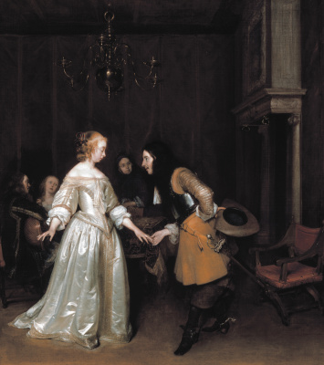 Gerard Terborch (ter Borch). Lady bowing officer